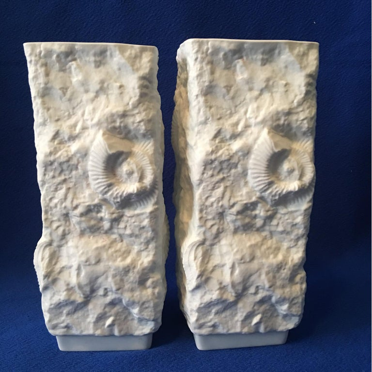 Porcelain One Pair of  White Fossil Rock Matte Vases by Kaiser of Germany For Sale