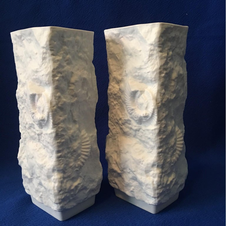 One Pair of  White Fossil Rock Matte Vases by Kaiser of Germany For Sale 1