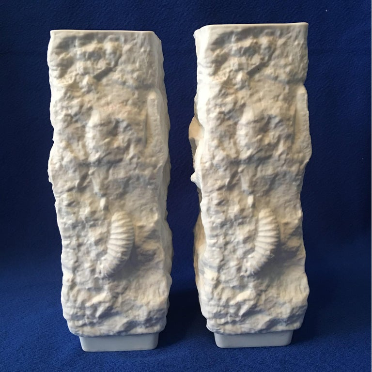 One Pair of  White Fossil Rock Matte Vases by Kaiser of Germany For Sale 2