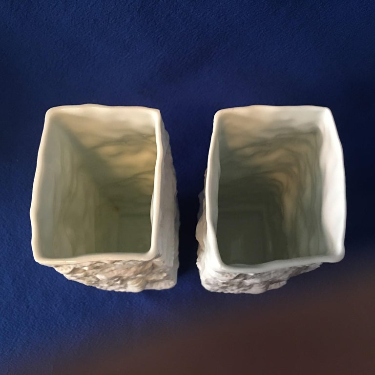 One Pair of  White Fossil Rock Matte Vases by Kaiser of Germany For Sale 3