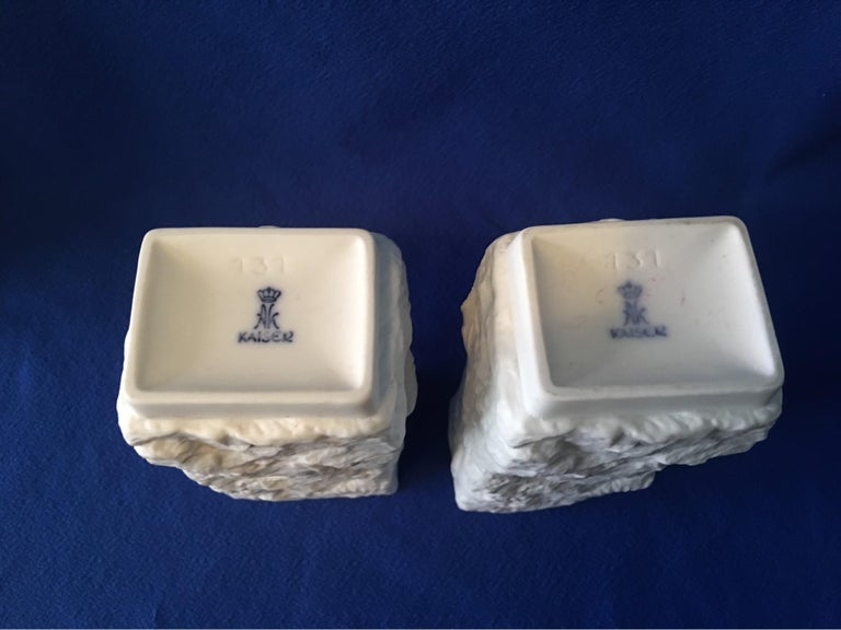 One Pair of  White Fossil Rock Matte Vases by Kaiser of Germany For Sale 4