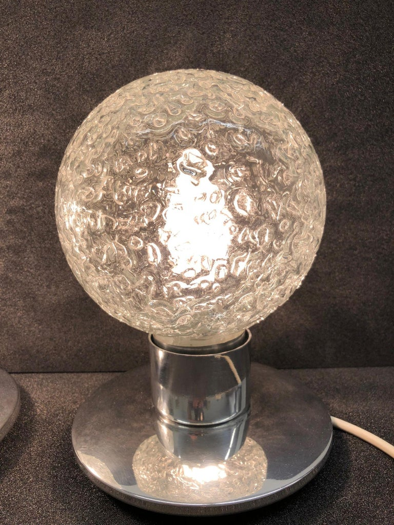 German One Pair Petite Doria Leuchten Ice Glass Ball Side Table Lamps For Sale