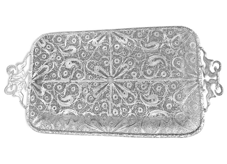 Women's or Men's One Pair of Pure Filigree Silver Tray with Goat Handles For Sale