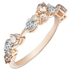 Modern Cluster Diamond Ring Champagne and White Diamonds Alternative bridal