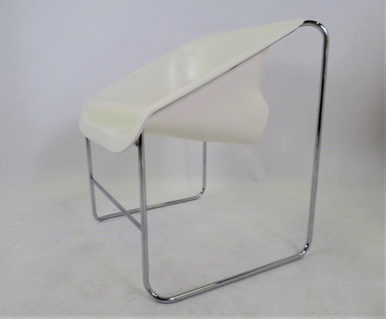 Plastic One Set 4 Space Age Modern Lotus Series Chairs Paul Boulva, Artopex Canada 1970s For Sale