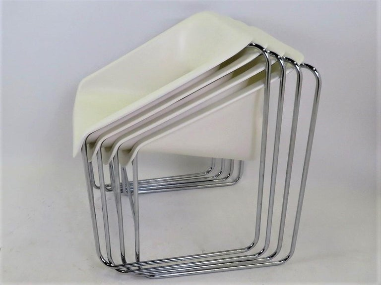 Molded One Set 4 Space Age Modern Lotus Series Chairs Paul Boulva, Artopex Canada 1970s For Sale