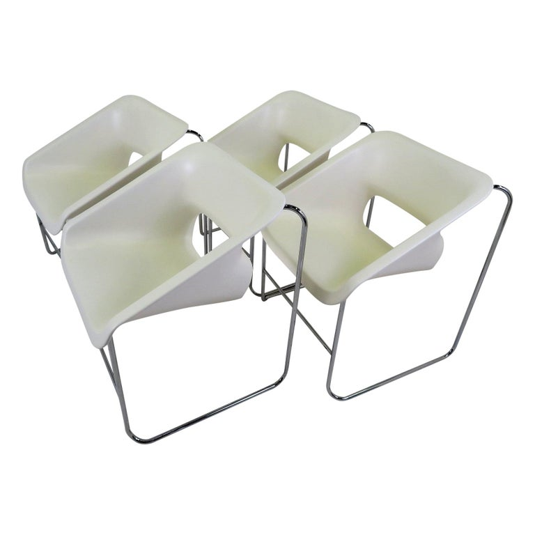 One Set 4 Space Age Modern Lotus Series Chairs Paul Boulva, Artopex Canada 1970s For Sale