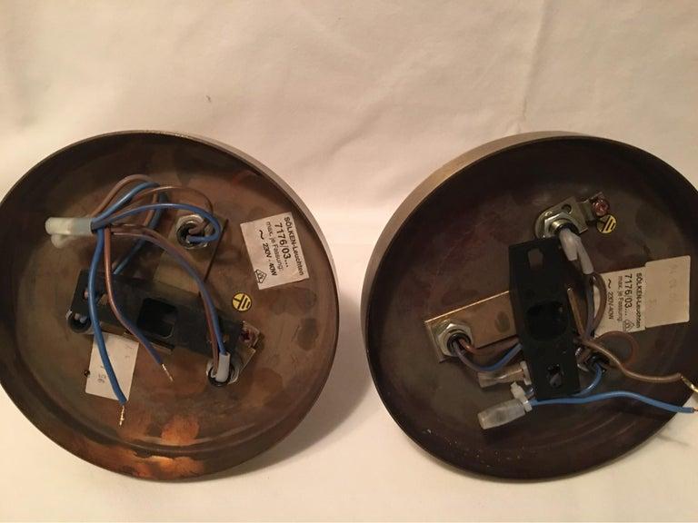 One Set of Three Brass Sputnik Three-Light Flash Mounts, or Sconces  For Sale 8