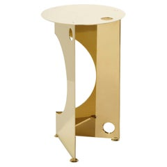 One Side Table in Polished Brass