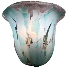 One Single Clear and Turquoise Murano Glass Sconce