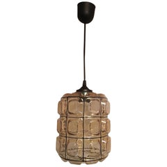 One Single Glashuette Limburg Style Pendant Lamp from Germany