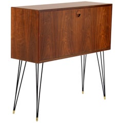 One Slender Teak Wood Cabinet with Metal Legs, Signed