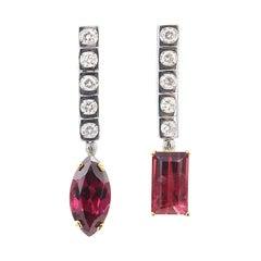 One Square Shaped Row Five Diamonds Dangle Drop Rubellite Gold Earrings