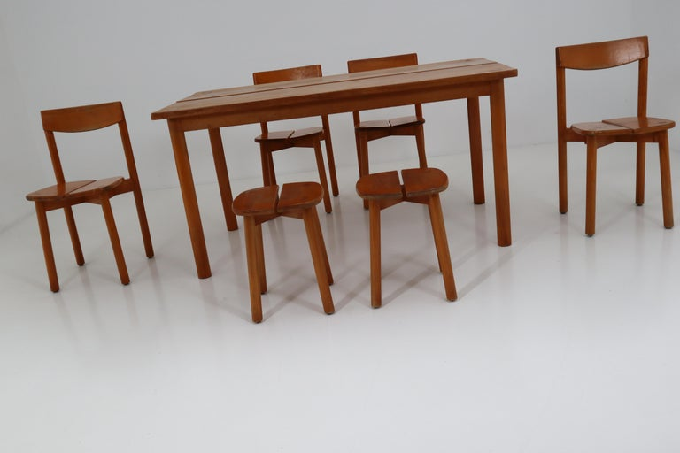 One Table, Six Chairs and Two Stools by Pierre Gautier Delaye, France, 1960s For Sale 4