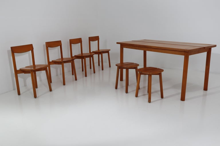 One Table, Six Chairs and Two Stools by Pierre Gautier Delaye, France, 1960s For Sale 6