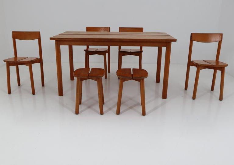 One Table, Six Chairs and Two Stools by Pierre Gautier Delaye, France, 1960s For Sale 8