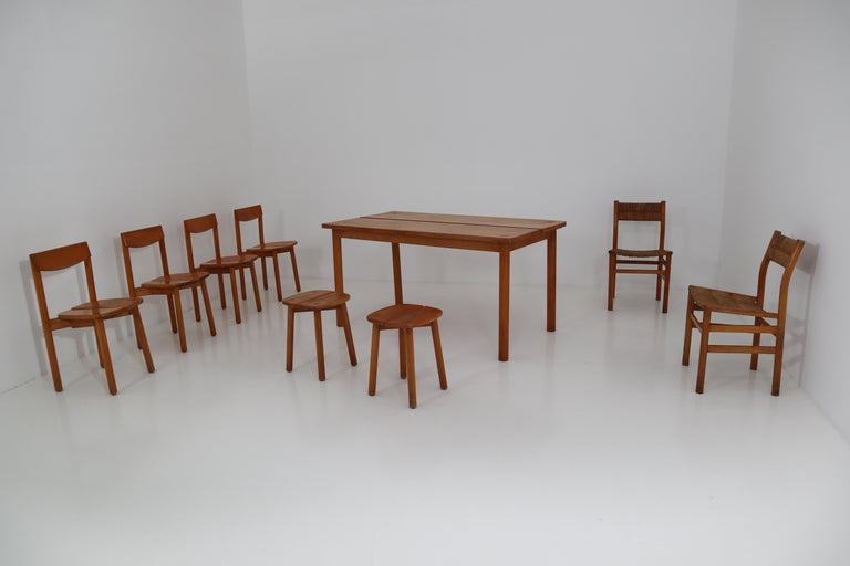 One Table, Six Chairs and Two Stools by Pierre Gautier Delaye, France, 1960s For Sale 13