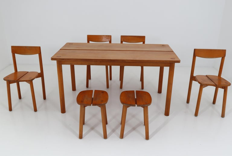 Mid-Century Modern One Table, Six Chairs and Two Stools by Pierre Gautier Delaye, France, 1960s For Sale
