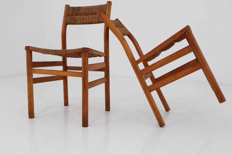 French One Table, Six Chairs and Two Stools by Pierre Gautier Delaye, France, 1960s For Sale