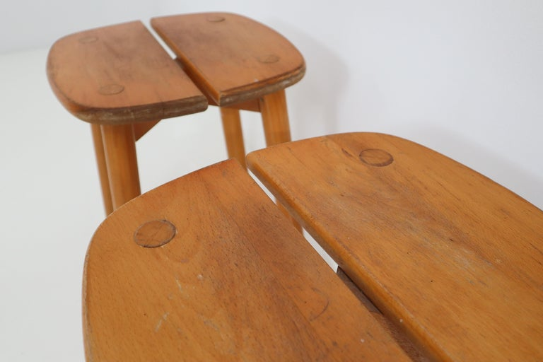One Table, Six Chairs and Two Stools by Pierre Gautier Delaye, France, 1960s For Sale 1