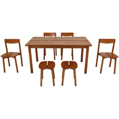 One Table, Six Chairs and Two Stools by Pierre Gautier Delaye, France, 1960s