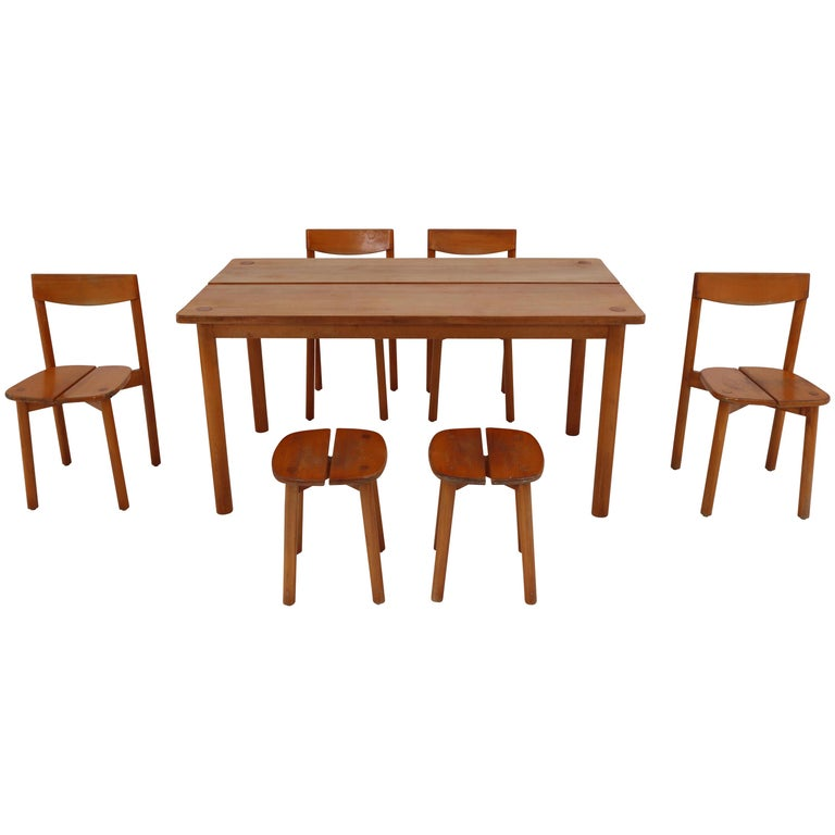 Terrific One Table Six Chairs And Two Stools By Pierre Gautier Delaye France 1960S Creativecarmelina Interior Chair Design Creativecarmelinacom