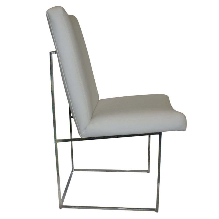 American One Thin Series High Back Leather and Chrome Chair Designed by Milo Baughman For Sale