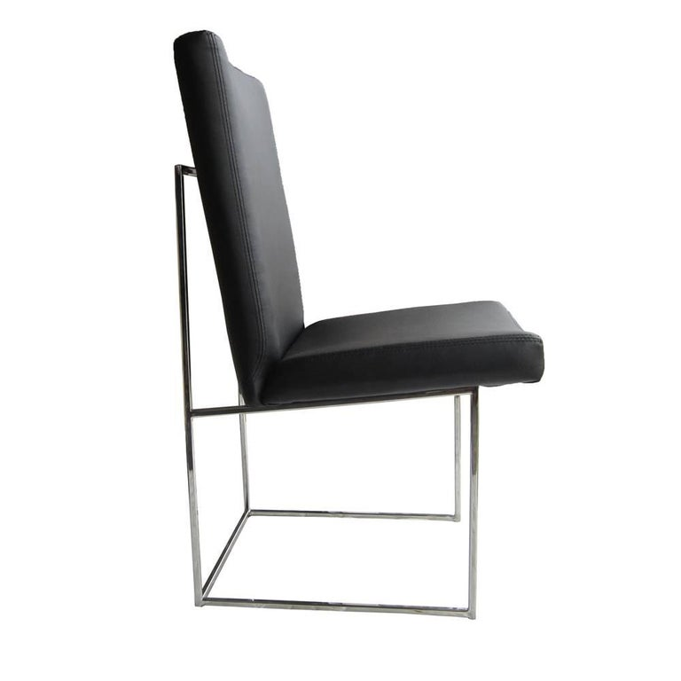 One Thin Series High Back Leather and Chrome Chair Designed by Milo Baughman For Sale 1