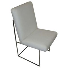 One Thin Series High Back Leather and Chrome Chair Designed by Milo Baughman