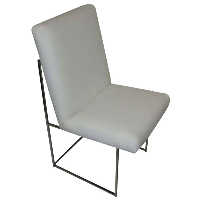 One Thin Series High Back Leather and Chrome Chair Designed by Milo Baughman For Sale