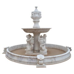 One Tier Hand Carved White Marble Fountain with Pool and Female Sculptures