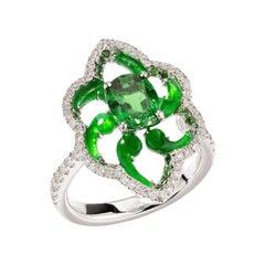 One Tsavorite and Jade Ring Set with Diamonds