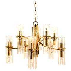 One Tube Rod Brass Chandelier by Gaetano Sciolari for Lightolier, 1960s
