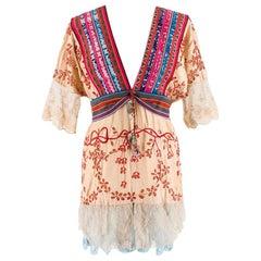 One Vintage Bespoke Embroidered Bohemian Kaftan Blouse - Size Estimated XS