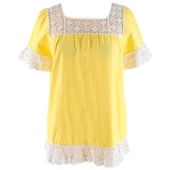 One Vintage Crochet Trimmed Yellow Top - Size S