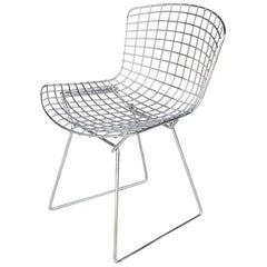 One Vintage Midcentury Restored Knoll Bertoia Side Chair with Seat Cushion