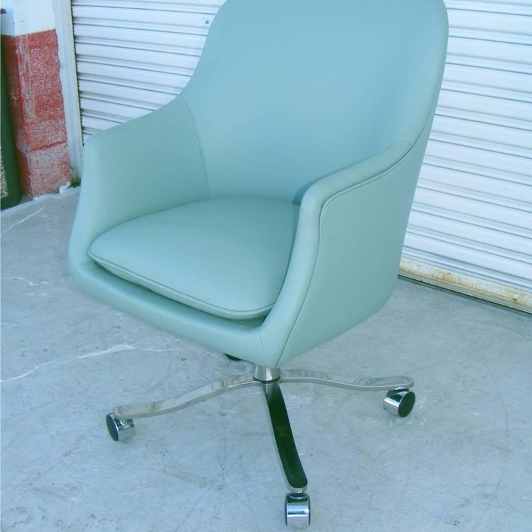 Leather One Vintage Midcentury Zographos Alpha Desk Chair For Sale