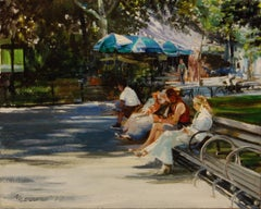 Breaktime in Central Park Onelio Marrero Oil painting on stretched canvas