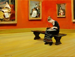 Sketching in the American Wing, Oil Painting
