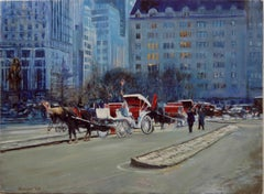 The Plaza before the Snowfall, Oil Painting