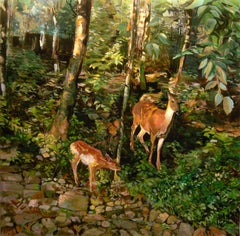 The Watchful Doe, Oil Painting