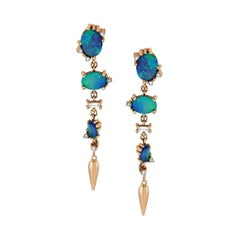 Onella Dangle Earrings with 14k Rose Gold with Opal and White Diamonds