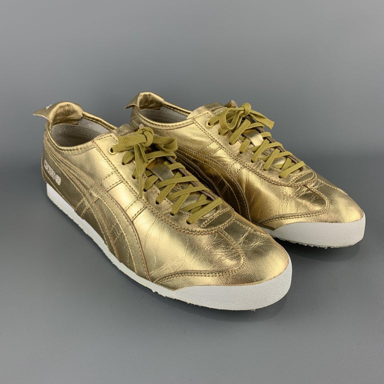 ONITSUKA TIGER Size 9.5 Gold Metallic Leather Lace Up Mexico 66 Sneakers In Excellent Condition For Sale In San Francisco, CA