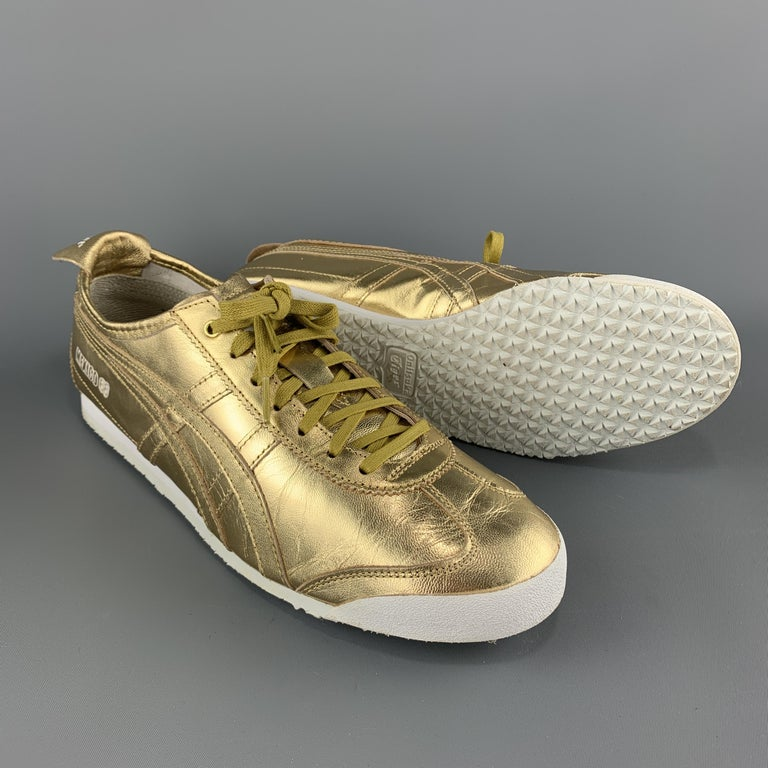 Men's ONITSUKA TIGER Size 9.5 Gold Metallic Leather Lace Up Mexico 66 Sneakers For Sale
