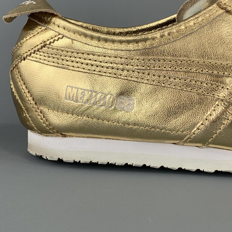 ONITSUKA TIGER Size 9.5 Gold Metallic Leather Lace Up Mexico 66 Sneakers For Sale 1