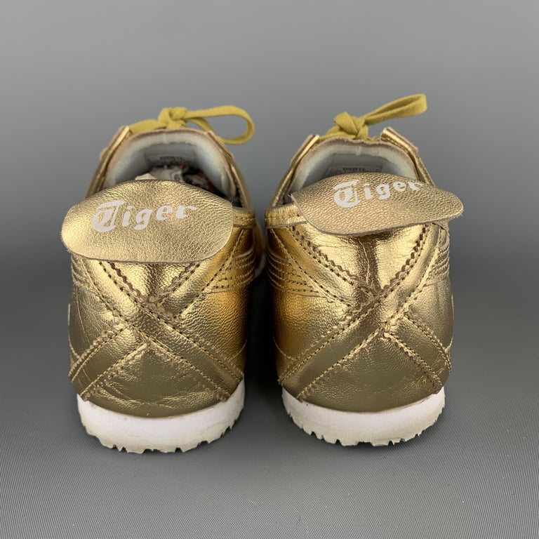 ONITSUKA TIGER Size 9.5 Gold Metallic Leather Lace Up Mexico 66 Sneakers For Sale 3