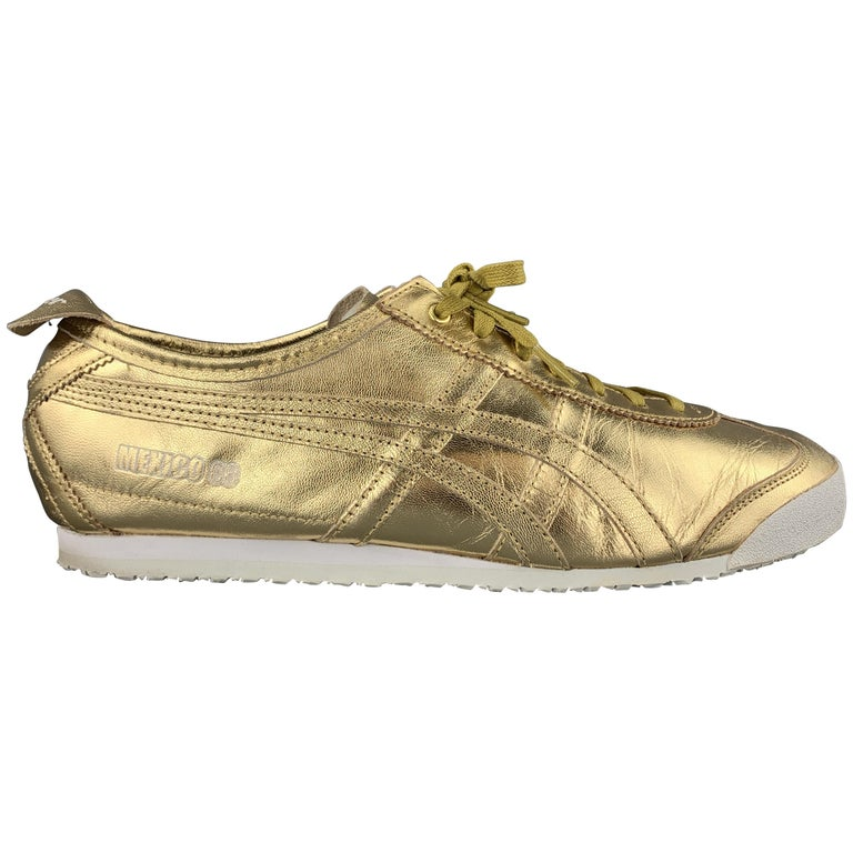 ONITSUKA TIGER Size 9.5 Gold Metallic Leather Lace Up Mexico 66 Sneakers For Sale