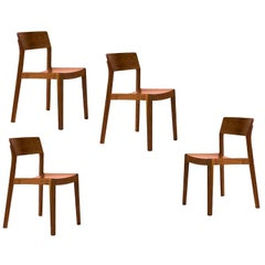 Ono, Swiss Dining Chairs, Design by This Weber, in Walnut, Set of 4