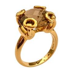 "Onre '1' 18 Karat Yellow Gold ""GUCCI"" Ring, Smokey Quartz, Italy, 2000"