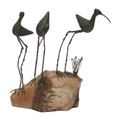 Onxy and Bronze Birds Sculpture by Designer C. Jere, circa 1960s
